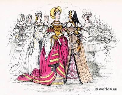 Renaissance fashion. 16th century costumes. Hennin. Nobility costumes.