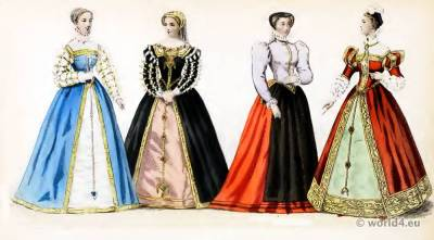Renaissance Fashion. Reign of Francis II. 16th century costumes. Nobility court dress.
