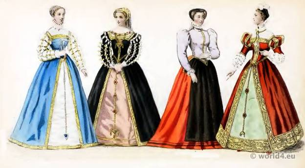 Renaissance Fashion under the Reign of Henri II. 16th century costumes. Nobility court dress.