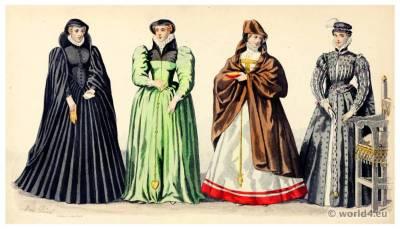 Renaissance fashion, Henri II. 16th century, costumes,Nobility, court dress