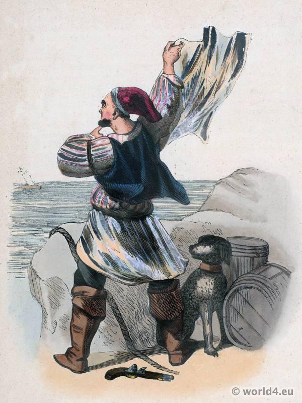 Smuggler of Grand Bretagne costume. Traditional Bretagne national costume. Bretagne Folk clothing. Ethnic garment