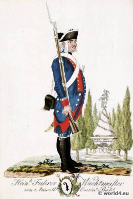 Switzerland military uniform. Canton Basel Shooter soldier dress. 18th century Swiss army uniforms.