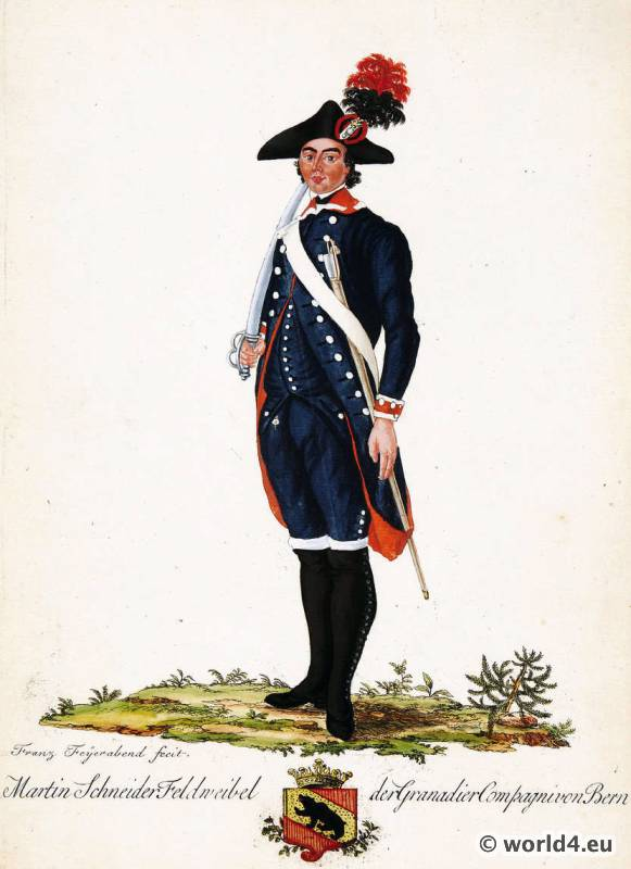 Switzerland military uniform. Canton Bern Shooter soldier dress. Swiss army uniforms.