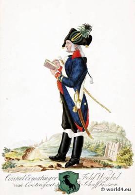 Switzerland military uniform. Shooter Sergeant from Contingent Schaffhausen. 18th century Swiss army uniforms.