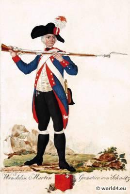 Switzerland military uniform. Grenadier of Schwitz soldier dress.  18th century Swiss army uniforms.