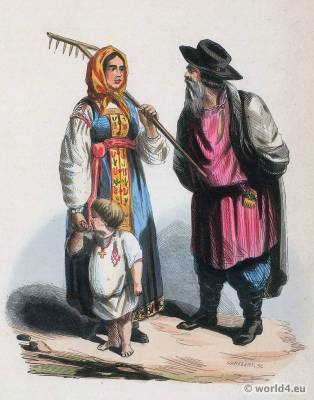 Peasants from Tver Russia Government. Traditional Russia national costumes. Russian Folk clothing. Ethnic garment.