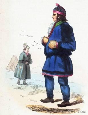Lapps Lapland costumes. Traditional Lappish national costume. Sami Folk clothing. Ethnic dress.
