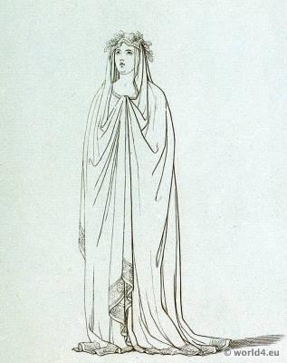 Ancient Roman Costume Vestal virgin. Toga and Tunica. Roman costume
