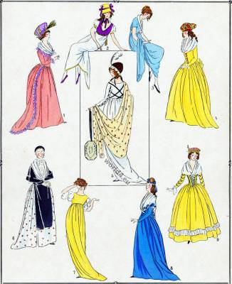 French Revolution costumes. Merveilleuses. Neoclassical fashion