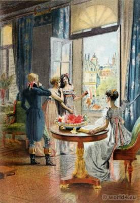 French Empire Costumes. Regency Fashion. France Revolution uniform. Octave Uzanne. Eugène Gaujèan. Albert Lynch