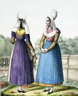 Traditional French National Costumes. Caen folk dresses. France Calvados Ethnic garment.