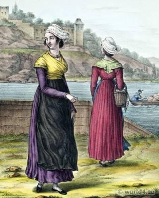Lyon folk dresses, Traditional France national costumes, France Ethnic garment.