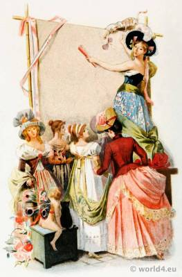 French Revolution costumes. Merveilleuses. Neoclassical fashion. Octave Uzanne