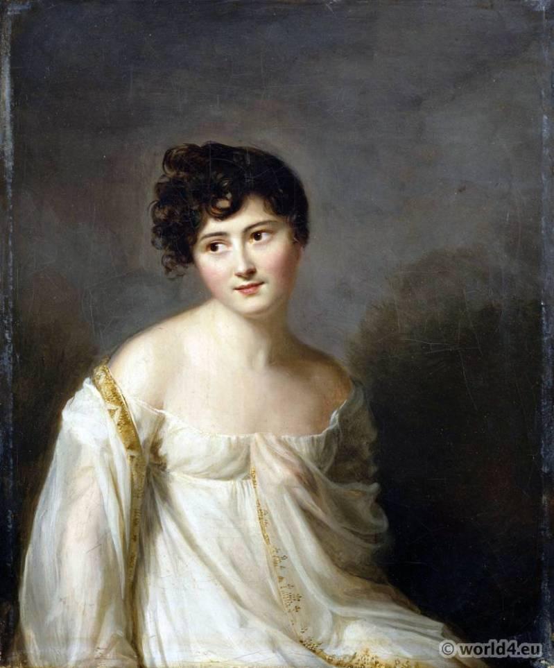 French Revolution hairstyle. Hair à la titus. Directory fashion. Merveilleuse Juliette Recamier. Hair à la titus