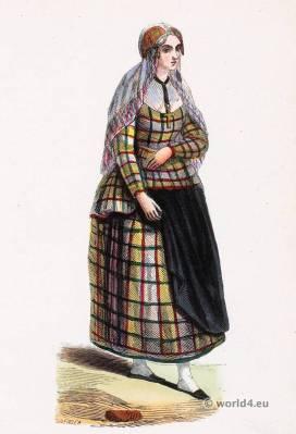 Maid in Friesland folk costume. Traditional Netherlands national costumes. Dutch Ethnic garment.