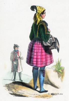 Peasant Woman from Wenden and Altenburg. German folk costume. Traditional Saxony national costume. German Ethnic garment.