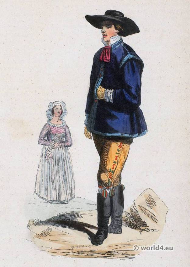 Sweden Folk Dress. Traditional Sweden national costumes. Scandinavian ethnic costumes