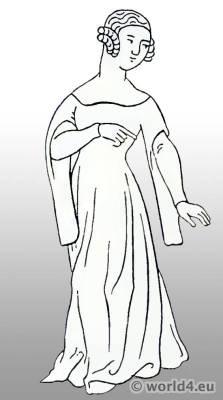 German women`s dress 15th century. Burgundy Costume. Medieval gothic dress.