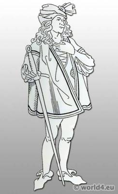 German fashion in the15th century. Burgundian costumes. Middle Ages clothing.