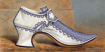 18th century Rococo shoe of Countess of Portsmouth. Vintage High Heels. Boho style.