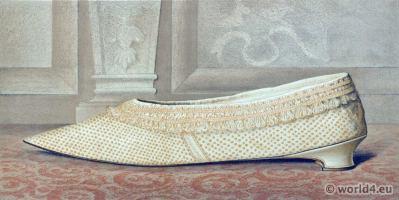 Shoes 17th century baroque fashion. Vintage Boho style.