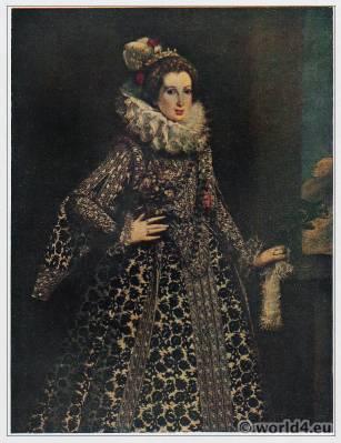 Baroque court dress. Elizabethan collar. Lady With the Ruff. 16th century fashion. Countess Pallavicino, Lavinia Biglia.