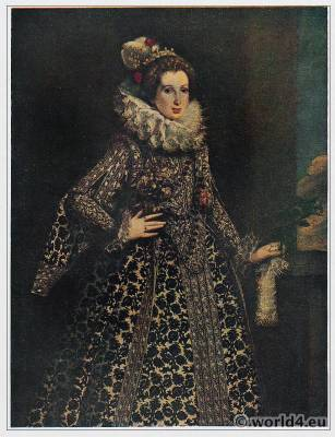 Baroque court dress. Elizabethan collar. Lady With the Ruff. 16th century fashion. Countess Pallavicino, Lavinia Biglia.