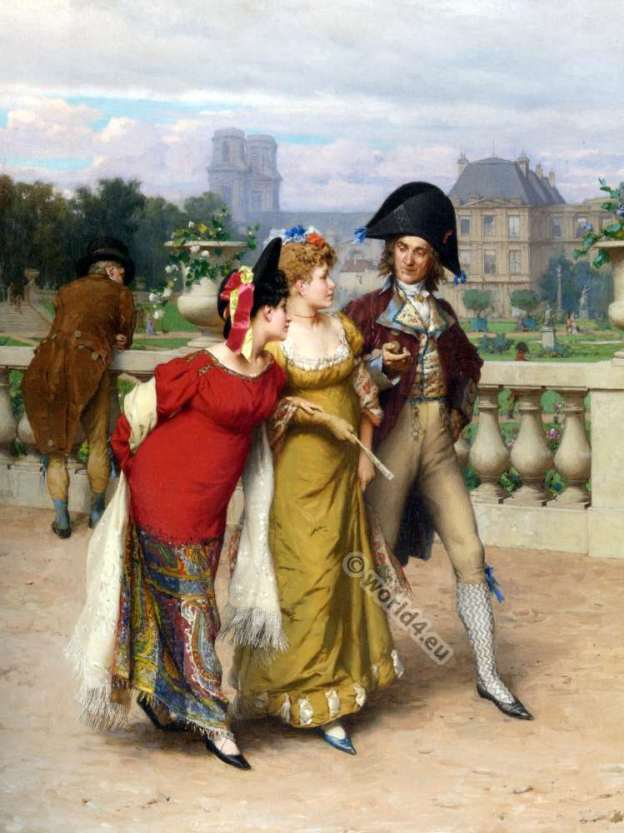 French revolution fashion. French 18th century costumes. Incroyable and Merveilleuses.
