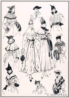 Collars and Capes. Le style parisien. Art deco fashion magazine. French parisiennes collection haute couture