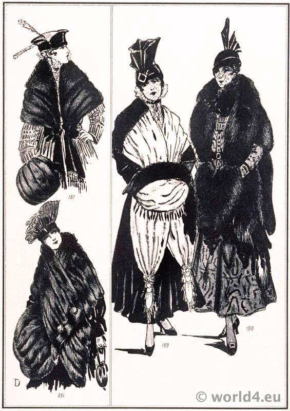 Fur stoles. Révillon Frères. Le style parisien. Art deco fashion magazine. French parisiennes collection haute couture