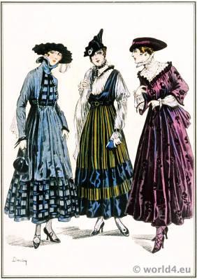 Robes en Faille Brochée de Velours. Le style parisien. Art deco fashion magazine. French parisiennes collection haute couture.