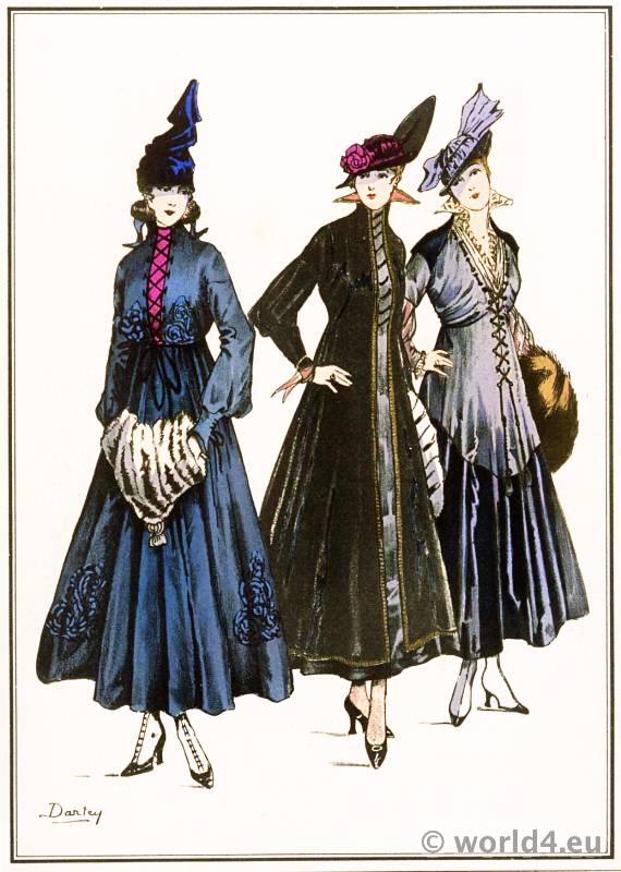 Laced dresses. Le style parisien. Art deco fashion magazine. French parisiennes collection haute couture.