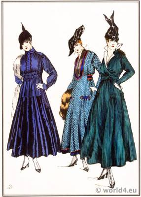 Simple gowns. Lanvin, Dœuillet, Chéruit. Le style parisien. Art deco fashion magazine. French parisiennes collection haute couture