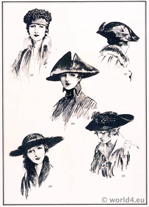Hats fashion Georgette. Le style parisien. Art deco fashion magazine. French parisiennes collection haute couture