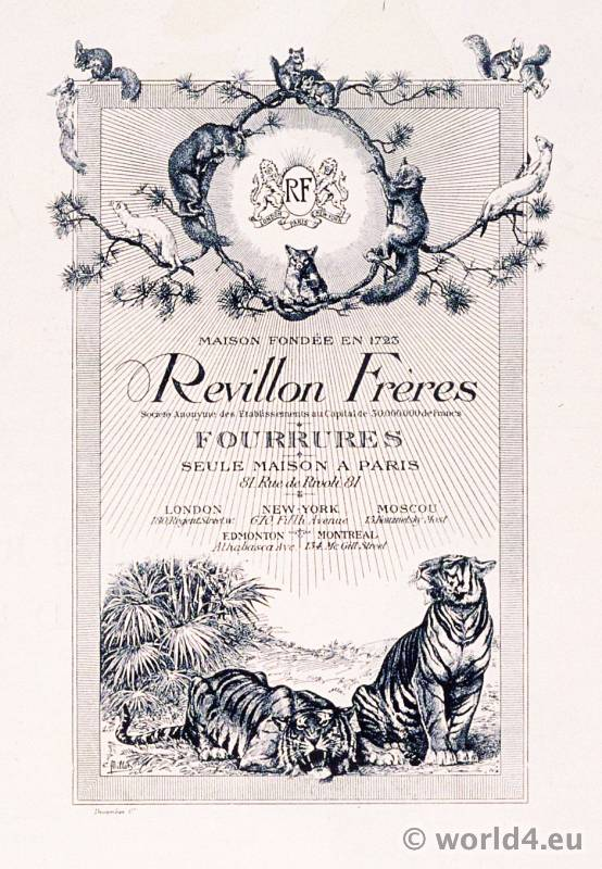 Révillon Frères. French fur and luxury goods company. Advertising Maison Givelet.