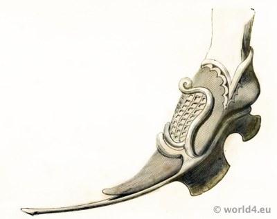 Chaussure avec patin du Roi Jean (1440). D'après une miniature publiée par Shaw.