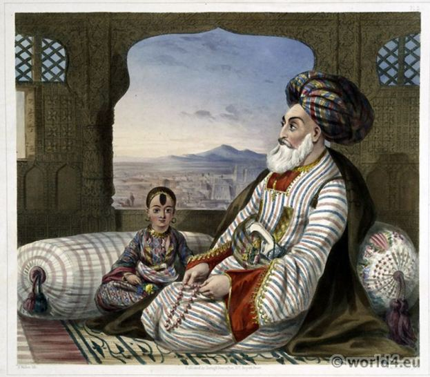 Baurikzye Umeer Dost Mahomed Khan. Traditional Afghanistan National Costumes. Illustrations James Rattray.
