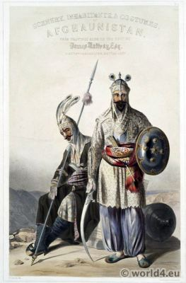 Douraunee Cheiftains. Traditional Afghanistan National Costumes. Illustrations James Rattray.