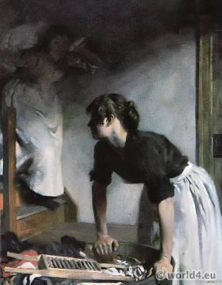 The Wash-House. From the Painting by William Orpen.. Impressionism in Great Britain.