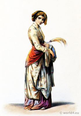 Armenia lady gown. Constantinople folk dress. Ottoman Empire costume