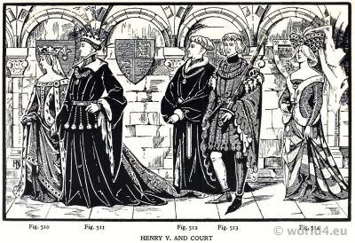 Costumes 15th century. Burgundy court dresses. England King Henry V. Hennin. Medieval Headdresses