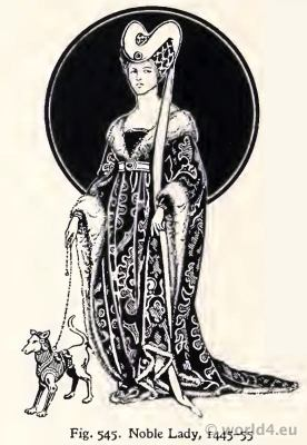 Medieval costumes 15th century. Noble Lady Fashion Burgundy court dresses. Hennin. Headdresses
