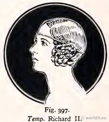 Medieval hairstyle 14th century. Fashion Burgundy court dress. King Richard II. period