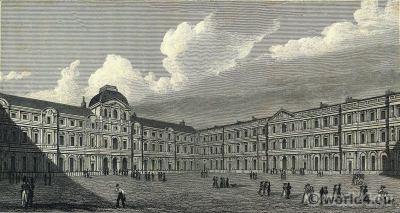 Court of the Louvre. 18th century. Paris architecture. Palais du Louvre