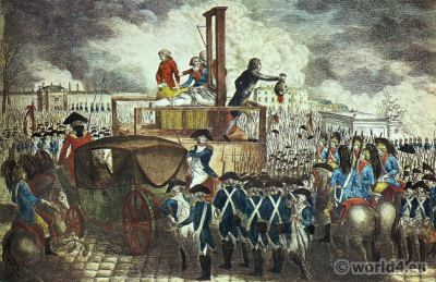 The execution of Louis XVI. Guillotine. Place de la Révolution. French Revolution History costumes.