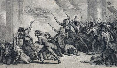 Fight at the Tuileries Palace on 20 June 1792. French Revolution costumes history.