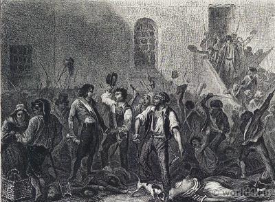 September Massacres 1792. French Revolution History. 18th century costumes