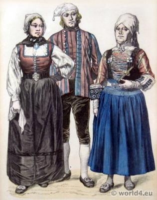 Münchner Bilderbogen. Friesland Folk dresses. Traditional Netherland national costumes