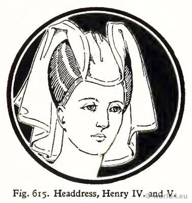 Gothic Medieval Headdress 15th century. Fashion Burgundy court dress. Hennin.