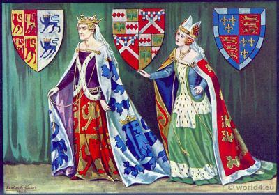 Margaret Princess of Wales. Middle ages fashion history. 15th century. Fashion Burgundy court dresses. Hennin. Headdresses